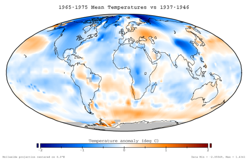 Temperature anomaly over years